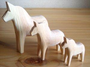 画像1: グラナス Grannas/ダーラナホース Dalahorse/トリオセット(7cm,10cm,13cm)/木製玩具